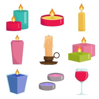 Kleurrijke kaarsen instellen. aromatherapie brandende kaarsen met aromatische planten en etherische oliën voor spa.