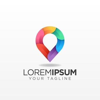 Kleurrijke kaart pin logo