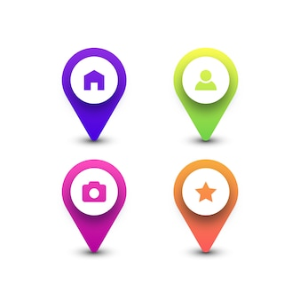 Kleurrijke kaart pin pictogrammen