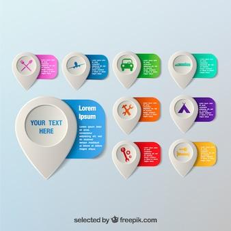 Kleurrijke kaart pointers template