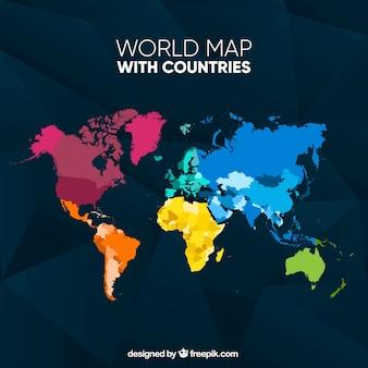 Kleurrijke kaart van de wereld