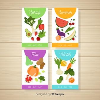 Kleurrijke kalender van seizoensgebonden groenten en fruit