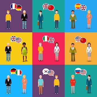 Kleurrijke karakters met tekstballonnen met vlaggen van verschillende landen in platte ontwerpstijl, taalstudie concept illustratie