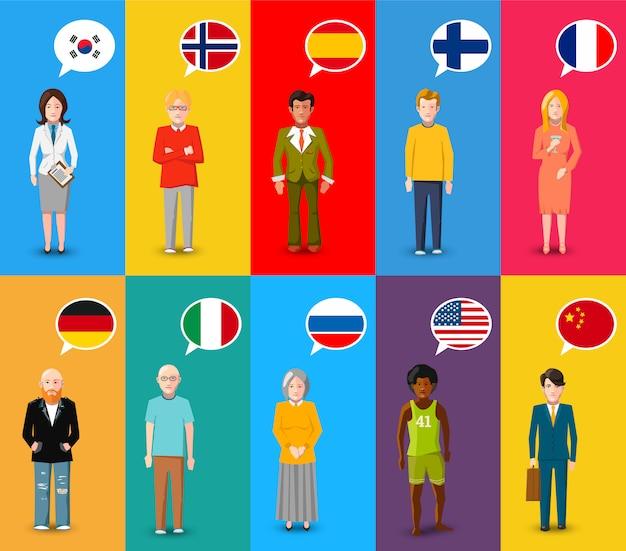 Kleurrijke karakters met tekstballonnen met vlaggen van verschillende landen in platte ontwerpstijl