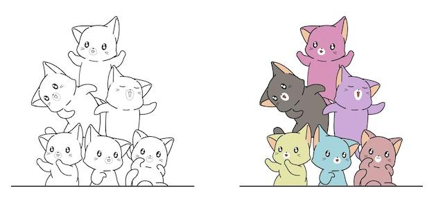 Kleurrijke katten cartoon gemakkelijk kleurplaat voor kinderen