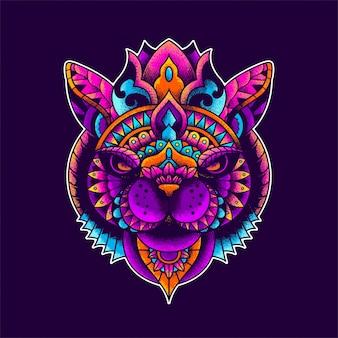 Kleurrijke kattenillustratie, mandala zentangle en t-shirtontwerp