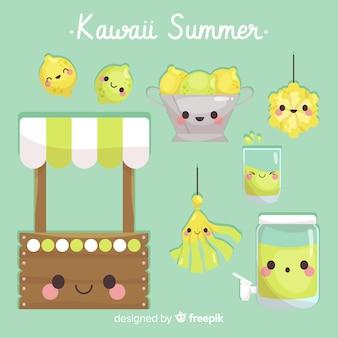 Kleurrijke kawaii zomer elementen collectie