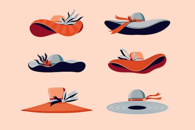 Kleurrijke kentucky derby hats set illustration