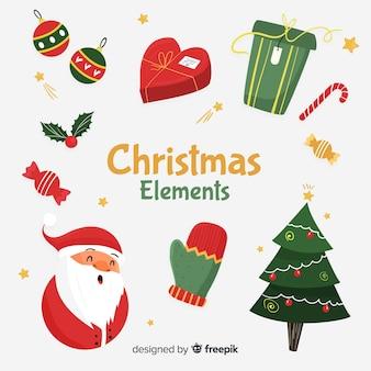 Kleurrijke kerst element collectie met platte ontwerp