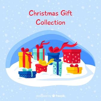 Kleurrijke kerst geschenkdozen collectie in platte ontwerp