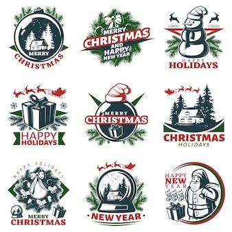 Kleurrijke kerst logo's instellen