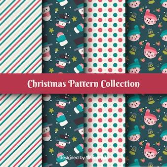 Kleurrijke kerst patroon collectie met platte ontwerp