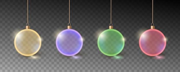 Kleurrijke kerstballen. set van realistische decoraties.