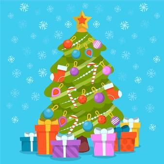 Kleurrijke kerstboom in plat ontwerp