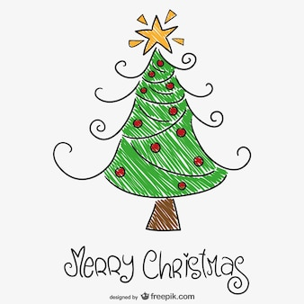 Kleurrijke kerstboom tekening