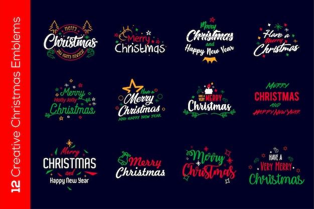 Kleurrijke kerstemblemen