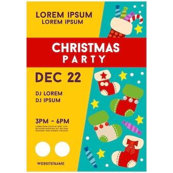 Kleurrijke kerstfeest poster sjabloon sokken element
