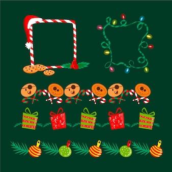 Kleurrijke kerstgrenzen en kaders