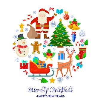 Kleurrijke kerstkaart