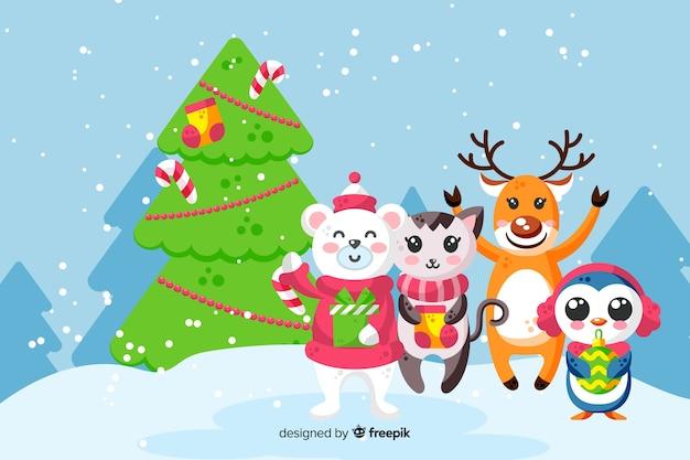 Kleurrijke kerstmisachtergrond in vlak ontwerp