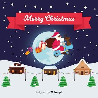 Kleurrijke kerstmisachtergrond met vlak ontwerp