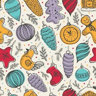 Kleurrijke kerstmiselementen naadloze patroonachtergrond in retro stijl