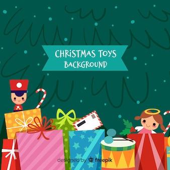 Kleurrijke kerstmisspeelgoedachtergrond