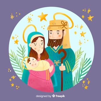 Kleurrijke kerststal illustratie