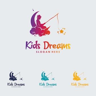 Kleurrijke kind bereiken star-logo vector
