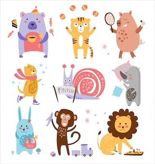 Kleurrijke kinderachtige dieren set