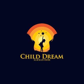 Kleurrijke kinderdroom logo ontwerpsjabloon