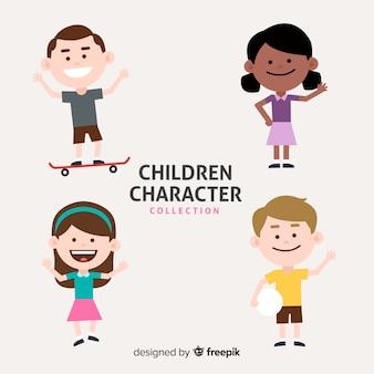 Kleurrijke kinderen collectie met platte ontwerp