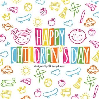 Kleurrijke kinderen dag achtergrond in schetsmatige stijl