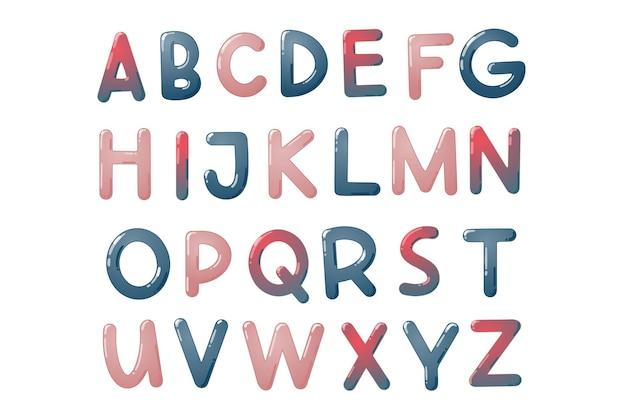Kleurrijke kinderen lettertype. glanzend kinderalfabet in cartoonstijl. vectortypografie voor school, kleuterschool en kleuterschoolontwerp.