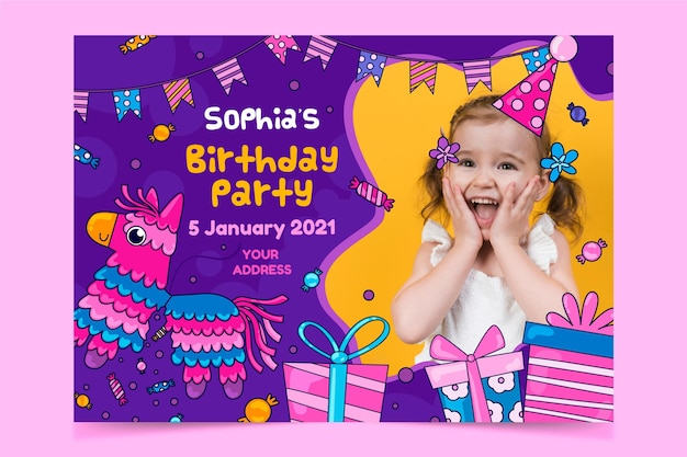Kleurrijke kinderen verjaardag uitnodiging sjabloon
