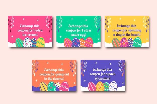 Kleurrijke kinderlijke paascadeaubonnen