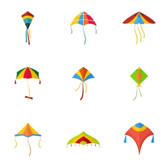 Kleurrijke kite icon set, vlakke stijl