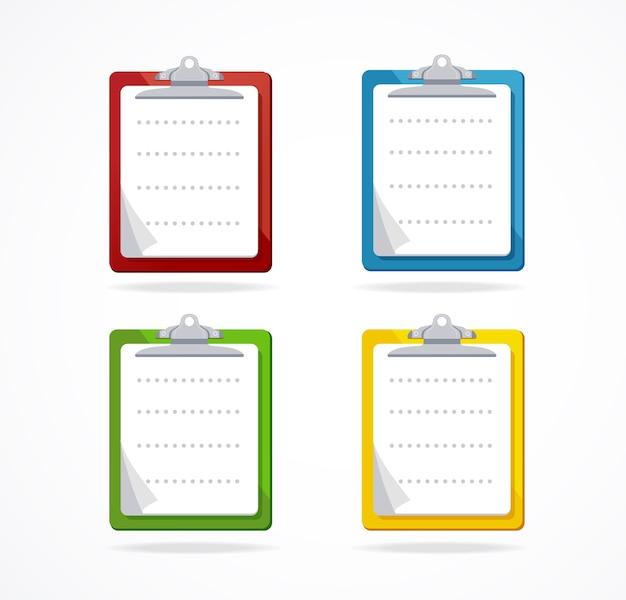 Kleurrijke klembord met blanco papier pictogramserie. bovenaanzicht.