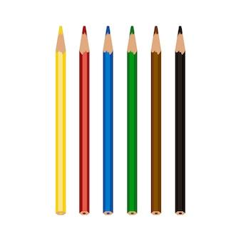 Kleurrijke kleurenpotloden die op witte achtergrond worden geïsoleerd