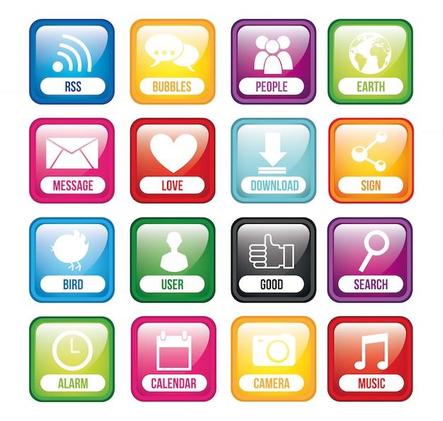Kleurrijke knoppen app met naam app store vector illustratie