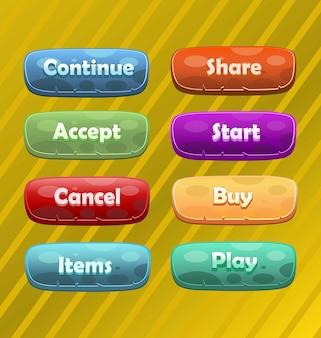Kleurrijke knoppen voor games of web ui elements-knoppen