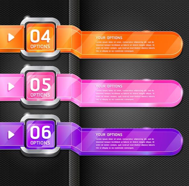 Kleurrijke knoppen website stijl nummer opties banner & kaart achtergrond.
