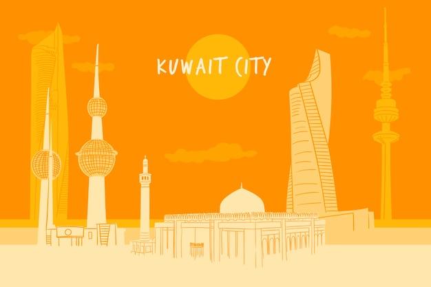 Kleurrijke koeweit skyline illustratie