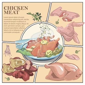Kleurrijke koken samenstelling met geroosterde kip op plaat en rauwe kip dij filet vleugels voeten lever hart