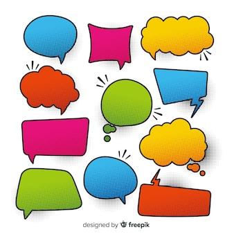 Kleurrijke komische spraak bubbels diversiteit