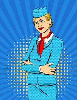 Kleurrijke komische stijlillustratie met glimlachende stewardess over halftone puntachtergrond