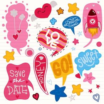 Kleurrijke komische tekstballonnen instellen voor valentijnsdag