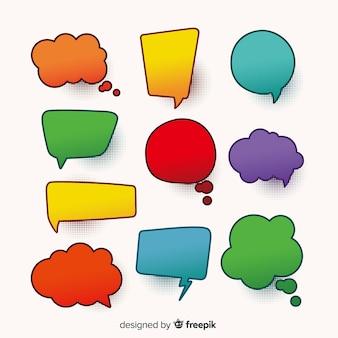 Kleurrijke komische tekstballonnen met schaduwen