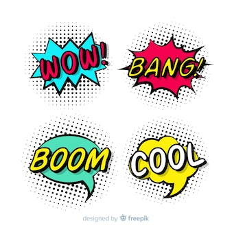 Kleurrijke komische tekstballonnen set