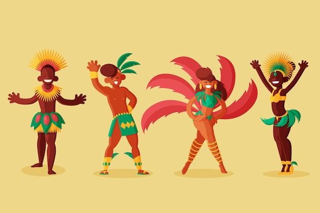 Kleurrijke kostuums carnaval danserenset
